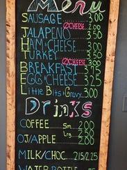 The menu at Coaches' Kolaches.