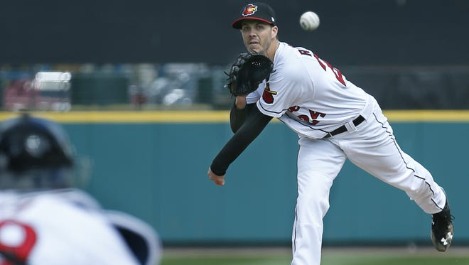 Red Wings pitcher Taylor Rogers throws in the fifth inning at Frontier Field in Rochester on April 11, 2015.