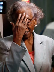 Ellie Dahmer, widow of Vernon Dahmer, of Hattiesburg, who was killed in 1966 by the Ku Klux Klan, pauses as she recalls the tumultuous period surrounding the firebombing of her home and the death of her husband, while touring the Mississippi Civil Rights Museum in Jackson recently.