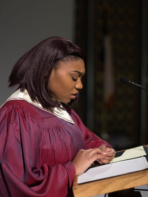 """Titanyna Hudson is a member of the congregation of a megachurch that must choose how to react to its pastor's surprise announcement. """"The Christians"""" opens Wednesday at Behrens Auditorium on the Hardin-Simmons University campus."""
