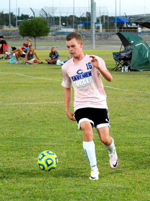 """Riley Nesbit of Carlsbad High moves the ball in a match at the """"Under the Lights"""" 3v3 live soccer tournament Saturday at Bob Forrest Youth Sports Complex."""