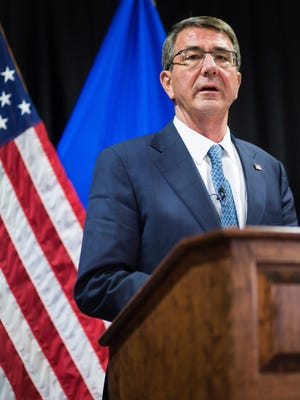 FILE PHOTO - US Secretary of Defense Ashton Carter delivers a statement to the press following the meeting of the alliance of Defense Ministers in the fight against the terrorist organization Islamic State (IS), in Stuttgart, Germany, May 2016.