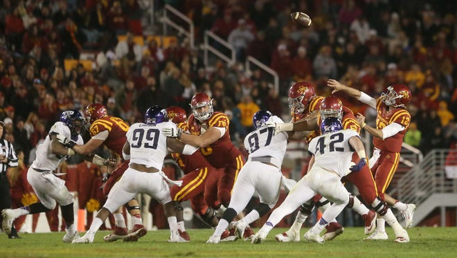 Iowa State's Sam Richardson throws a pass during the Cyclones' game. Richardson finished 22-of-36 for 251 yards.