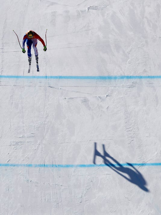 France's AdrienTheaux competes in the men's downhill at the 2018 Winter Olympics in Jeongseon, South Korea, Thursday, Feb. 15, 2018. (AP Photo/Charlie Riedel)