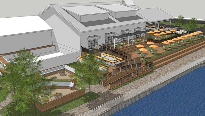 Rendering of the planned restaurant improvements to the Belmar marina.