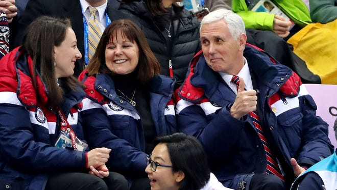 Feb 10, 2018; Pyeongchang, South Korea; Vice President Mike Pence attends the men's short track 1,500m heats during the Pyeongchang 2018 Olympic Winter Games. Mandatory Credit: Geoff Burke-USA TODAY Sports ORIG FILE ID:  20180210_pjc_sb4_260.JPG