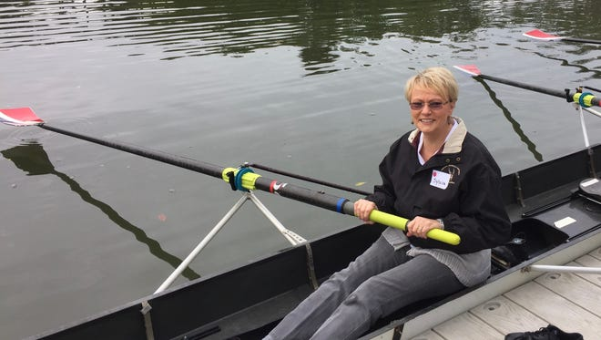 Row Beyond Diagnosis participant Sylvia Swanson gets comfortable in the boat.
