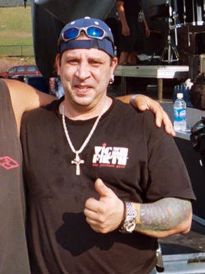 This Aug. 21, 2005 photo shows Twisted Sister drummer A.J. Pero before a concert in Little Falls, N.J. Pero died of an apparent heart attack on Friday, March 20, 2015, while touring with Adrenaline Mob, a group with which he played in between engagements with Twisted Sister. He was 55.