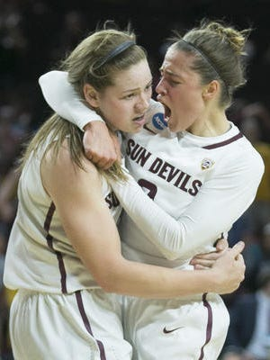 Katie Hempen, hugging Sophie Brunner late in ASU's NCAA second-round win Monday, is one of the Sun Devils' emotional leaders.