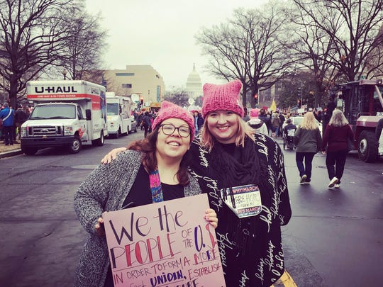 Lidi Armenta (left) and Phoebe Hopps at the Women's March on Washington, Jan. 21, 2017.
