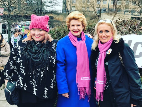 FILE -- Phoebe Hopps (left) with U.S. Sen. Debbie Stabenow, D-Mich., and U.S. Rep. Debbie Dingell, D-Dearborn, at the Women's March on Washington on Jan. 21, 2017.