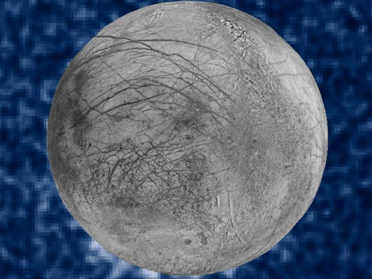 This Jan. 26, 2014, image provided by NASA shows a composite image of possible water plumes on the south pole of Jupiter's moon Europa. Europa is among several moons in the solar system where evidence of an underground ocean has been discovered in recent years. The Hubble data were taken on January 26, 2014. The image of Europa, superimposed on the Hubble data, is assembled from data from the Galileo and Voyager missions. (NASA via AP)