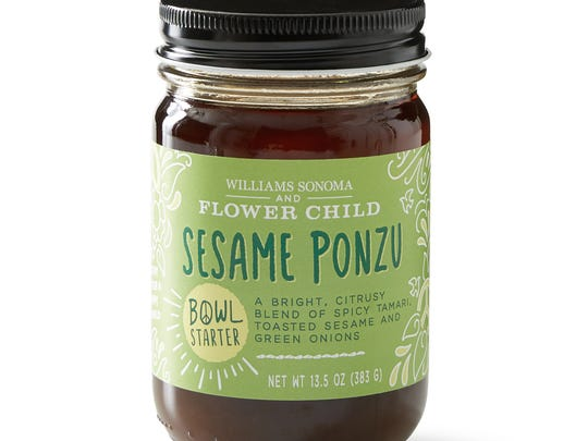 The Flower Child Sesame Ponzu: a citrusy blend of spicy tamari, toasted sesame and green onions.