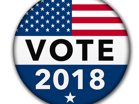 USA Vote 2018 Button with Clipping Path
