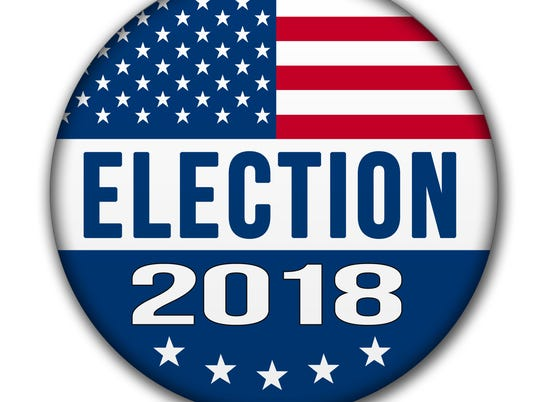 USA ELECTION 2018 Button with Clipping Path