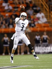 Rice quarterback Shawn Stankavage (3) makes a pass against Hawaii during the second quarter of an NCAA college football game Saturday, Sept. 8, 2018, in Honolulu. (AP Photo/Marco Garcia)