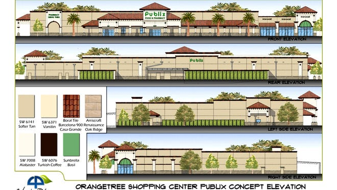 Exterior renderings of the Publix supermarket and retail shops for the future Neighborhood Shoppes at Orangetree on the corner of Immokalee Road and Randall Boulevard in Golden Gate Estates.