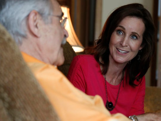 Dick Purtan and daughter JoAnne Purtan at his West Bloomfield home.