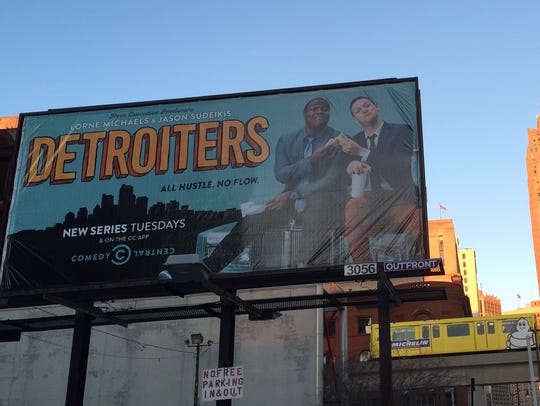 A billboard for 'Detroiters' show in Detroit.