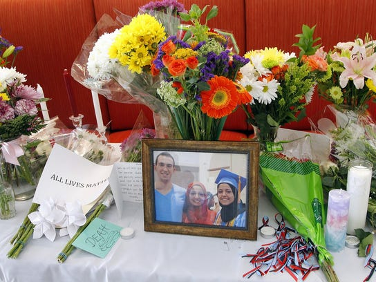 A makeshift memorial was built at the UNC School of