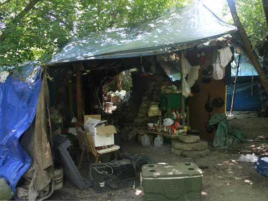 This is a 2012 file photo of the homeless camp in the woods near Kearney and Glenstone. People have camped there off and on for some 30 years.