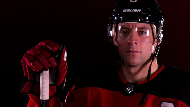 A closer look at Captain Andy Greene in the Devils home jersey.