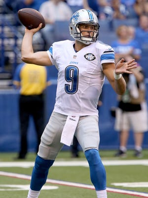 Lions QB Matthew Stafford passes during the third quarter against the Indianapolis Colts at Lucas Oil Stadium on September 11, 2016 in Indianapolis, Indiana.