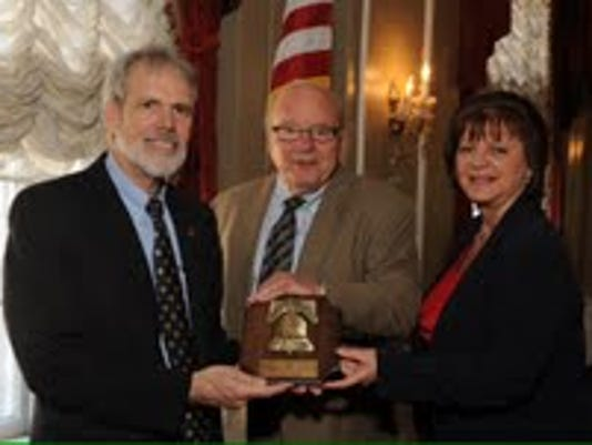 Liberty Bell Award winner Robert Woods, Sr. Judge John C. Uhler and Judge Maria Musti Cook