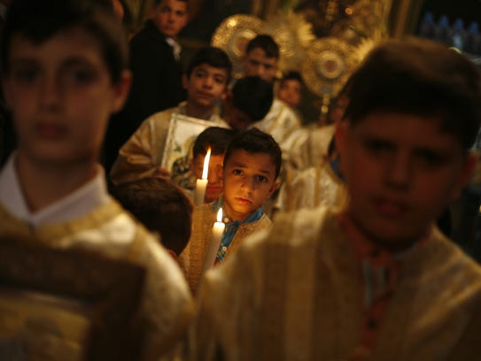 Palestinian Christians at the St. Porphyrius Church