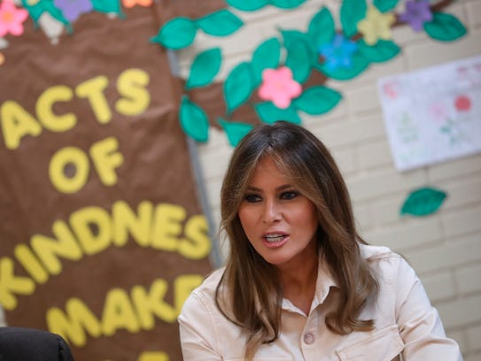 First lady Melania Trump visits the Upbring New Hope