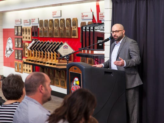 Athletic Director Jason Butikofer speaks during the