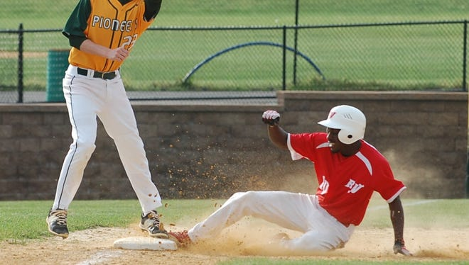Rancocas Valley senior Kwan Jones slides safely into third with a stolen base in Monday's action against Clearview.