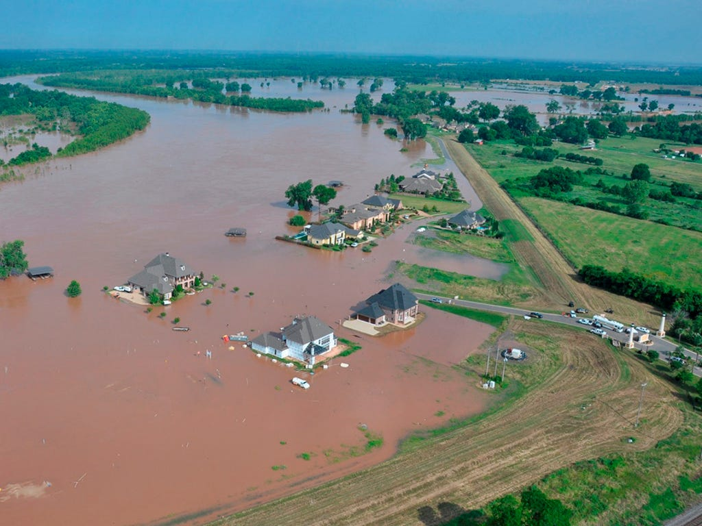 Part of the River Bluff subdivision is flooded by the Red River in Bossier Parish, La. The National Weather Service says the river is higher than it has been in 70 years.