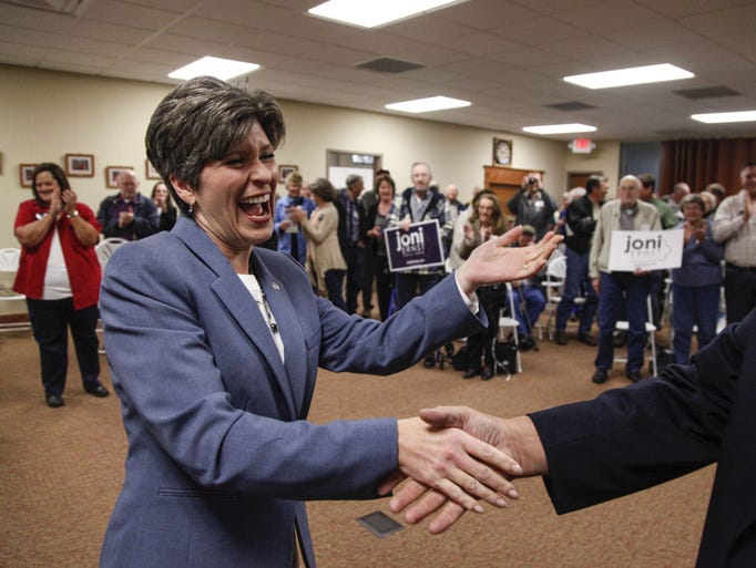 Joni Ernst, republican candidate for U.S. Senate shakes
