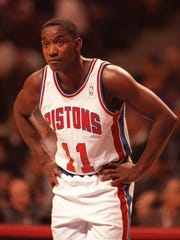 Pistons guard Isiah Thomas during a break in the action against the Orlando Magic in what would be his final NBA game April 19, 1994.