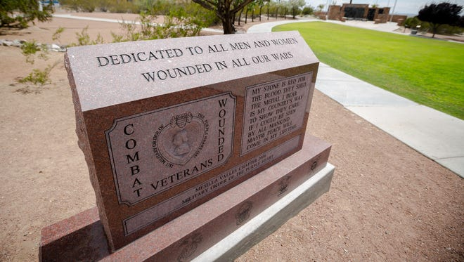 The newly erected Purple Heart Monument at Veterans Memorial Park, Tuesday, August 2, 2016.