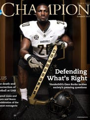 Vanderbilt linebacker Oren Burks was featured on the cover of the  NCAA Champions magazine.