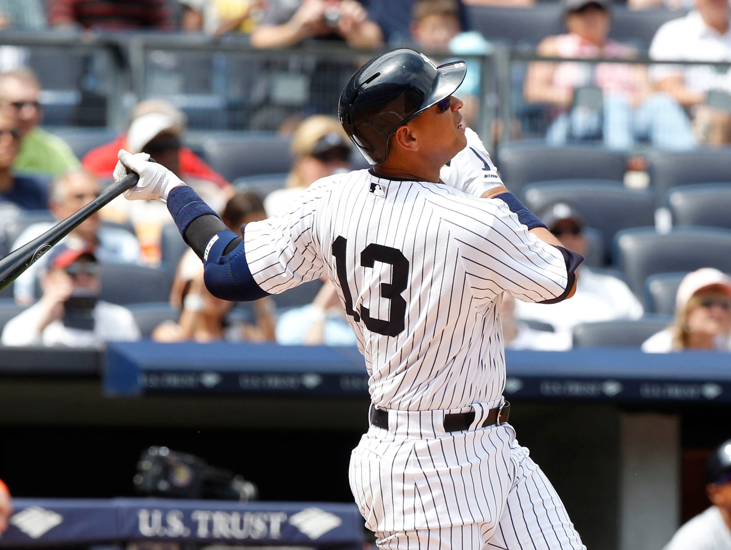 Alex Rodriguez hits his 648th career home run, his first of the season. The RBI moves him past Stan Musial for fifth on the all-time career RBI list with 1,951.