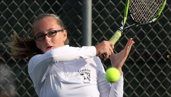 Franklin's Katie Lehman plays second singles during WIAA sectionals in 2016. The Sabers were headed into the South Milwaukee subsectional on Oct. 2 and the Nicolet sectional Oct. 4.