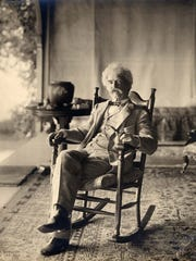 Samuel Clemens, aka Mark Twain, often gathered with his family at Quarry Farm. Twain is shown there in 1903.