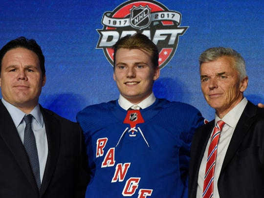 Lias Andersson poses for photos after being selected
