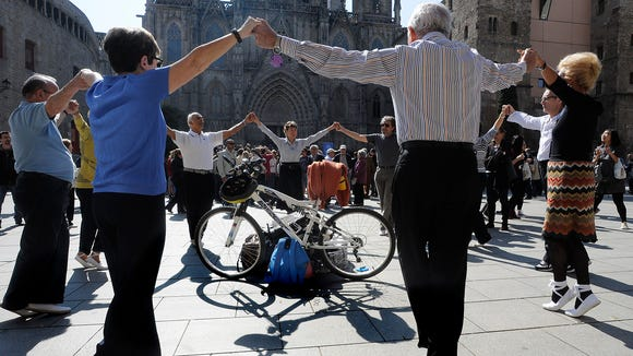 Sunday Sardana classes in front of Barcelona's Cathedral.