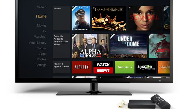 Amazon's Fire TV set-top box and remote.