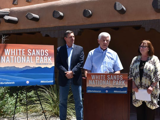 U.S. Sen. Martin Heinrich, State Sen. Ron Griggs, R-Dist. 34, and Alamogordo City Commissioner Nadia Sikes talk about the importance of the White Sands National Park Establishment Act that Heinrich intends to introduce to Congress on Monday.