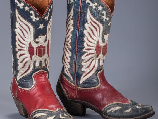 One photo of Roy Roger's double-eagle boots (auction estimate is $3,000 to $3,500).