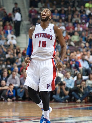 Detroit Pistons center Greg Monroe (10) screams during the third quarter against the Washington Wizards at The Palace of Auburn Hills. Pistons won 113-102.