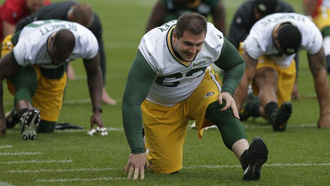 Green Bay Packers center Corey Linsley (63) is shown during organized team activities Tuesday, May 23, 2017 in Green Bay.
