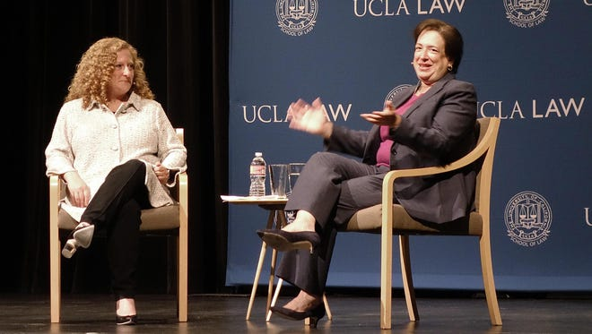U.S. Supreme Court Justice Elena Kagan waits to begin a discussion at the University of California, Los Angeles, with UCLA Law School Dean Jennifer Mnookin, left, Thursday, Sept. 27, 2018.