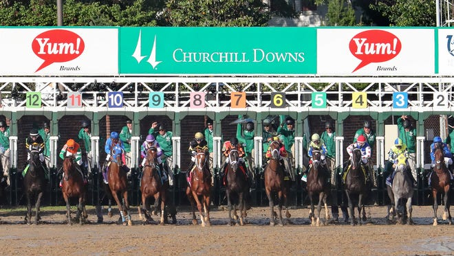 Horses leave the starting gate for the 2017 Kentucky Derby.