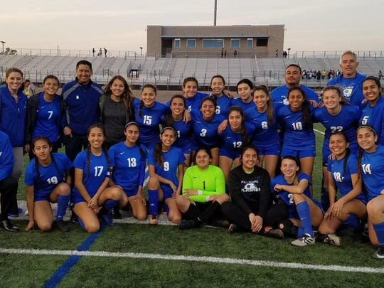 The Fillmore High girls soccer team celebrates its 2-1 win over host Rialto in the CIF Southern California Division V regional semifinals on Thursday.